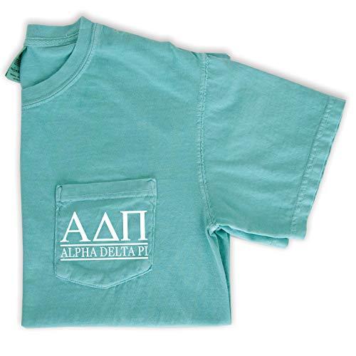 Alpha Delta Pi T-Shirt   Sorority Comfort Colors Pocket Tee   ADPi Letters (Large, Mint)