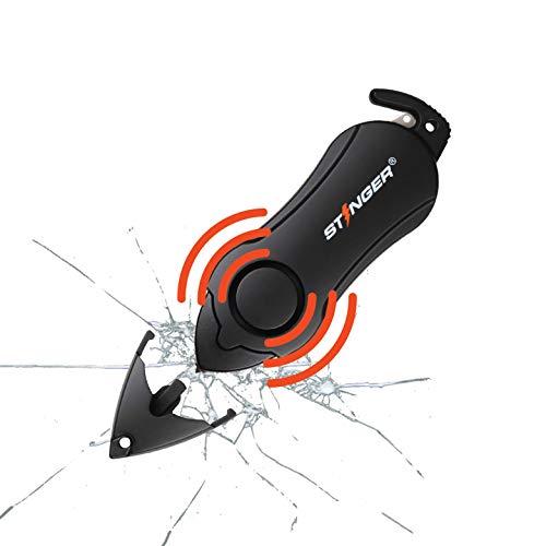 Stinger Personal Alarm Keychain Emergency Tool, Safety Panic Alarm Siren, Seat Belt Cutter, Glass Breaker, Self Defense Protection, Security Device for Women Men Kid, Original Design in USA (Black)