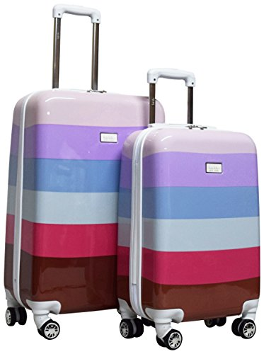 Nicole Miller Luggage Rainbow Collection - 2 Piece Hardside Lightweight Spinner Suitcase Set - Travel Set includes 20-Inch Carry On and 24 inch Checked suitcases (Lavender)