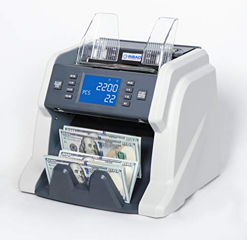 Ribao BC-35 High Speed Portable Bill Counter Money Counting Machine Cash Counter Business Retail UV/MG/IR Counterfeit Detection, Two Year Warranty