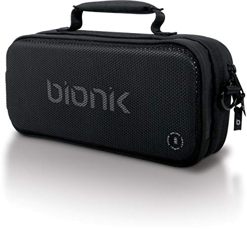Bionik Power Commuter Travel Bag with Battery: Compatible with Nintendo Switch, Ultra Slim 10,000 mAh Portable Power Bank, Built In USB C Charging Cable, Removable Shoulder Strap, Backpack Attachable