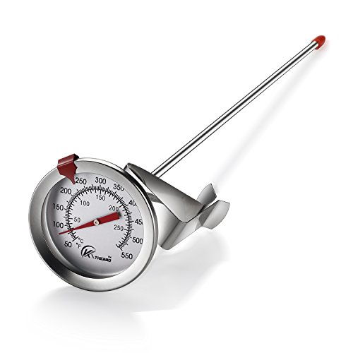 KT THERMO Deep Fry Thermometer With Instant Read,Dial Thermometer,12' Stainless Steel Stem Meat Cooking Thermometer,Best for Turkey,BBQ,Grill
