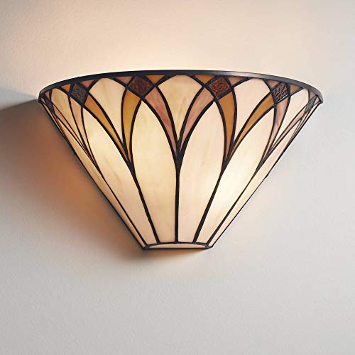 Filton Tiffany Style Wall Light Sconce Bronze Hardwired 6' High Fixture Amber Yellow Stained Art Glass for Bedroom Bathroom Hallway - Regency Hill