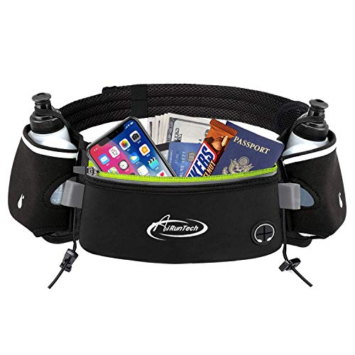 AiRunTech Upgraded No Bounce Hydration Belt Can be Cut to Size Design Strap for Any Hips for Men Women Running Belt with Water Bottle Holder with Large Pocket Fits Most Smartphones (Upgraded II)