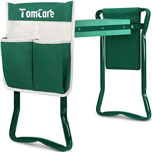 TomCare Garden Kneeler Seat Garden Bench Garden Stools Foldable Stool with Tool Bag Pouch EVA Foam Pad Outdoor Portable Kneeler for Gardening(Large-21.65' x 10.62' x 18.89',Green)