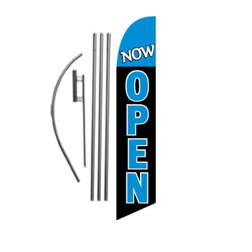 Now Open Advertising Feather Banner Swooper Flag Sign with Flag Pole Kit and Ground Stake