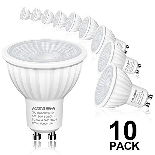 Hizashi Flicker-Free GU10 LED Bulbs, 94 CRI, 50W Halogen Equivalent, Non Dimmable, 4.5W 420LM LED Spot Light, 5000K Daylight White LED Light Bulbs Recessed Lighting, Track Lighting, UL Listed, 10 Pack