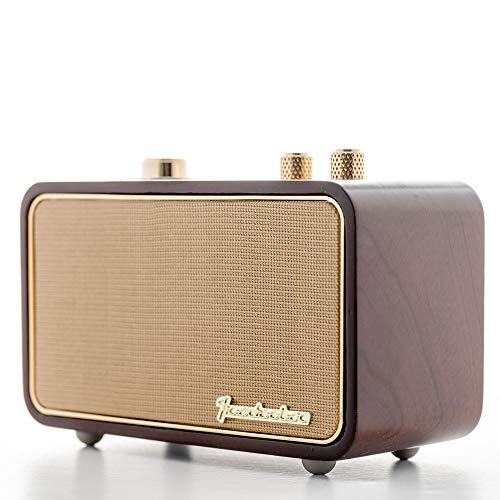 Portable Speaker for Home Office iPhone, Trenbader.com Retro Bluetooth Speaker with Radio, Small Vintage Radio. Wooden, Rechargeable, Mic, 2500mAh.