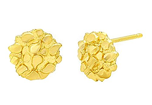 Mens Womens 10k Yellow Gold Round Nugget Earrings Small Nugget 0.6 g