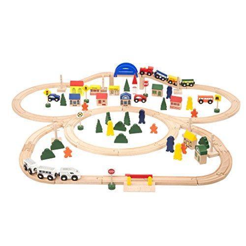 Battat - Deluxe Wooden Train – Classic Toy Train Set with Magnetic Trains, Tracks, Vehicles, Buildings & Accessories for Kids Aged 3 & Up (102Pc), Fits Thomas, Brio, Chuggington