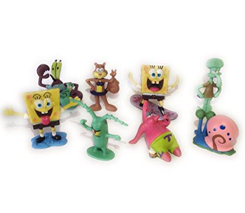 SpongeBob SquarePants 8 Piece Play Set with 8 SpongeBob Figures Featuring Squidward, Sandy Cheeks, Patrick Star, Mr. Krabs, Plan Multicoloured, 1pac
