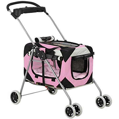 BestPet Dog Stroller Cat Stroller Pet Carseat Carriers Bag for Small Medium Dogs Cats Travel Camping 4 Wheels Lightweight Waterproof Folding Crate Stroller with Soft Pad,Pink