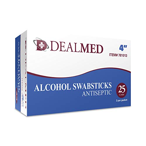 Dealmed 4' Alcohol Swabsticks, Antiseptic, 3 Swabs/Pkg - 25 Pkgs/Box