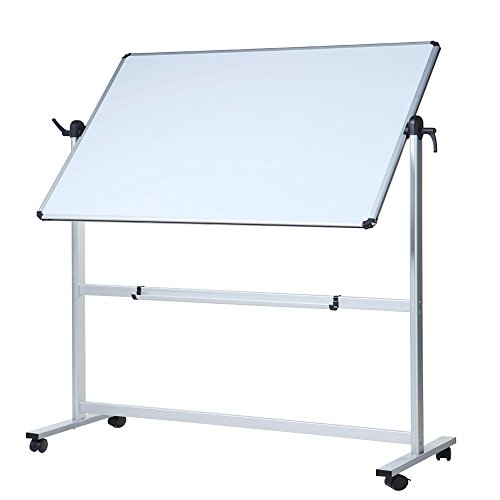 VIZ-PRO Double-Sided Magnetic Mobile Whiteboard, 48 x 36 Inches, Aluminium Frame and Stand