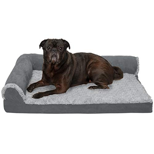 Furhaven Pet Dog Bed - Deluxe Cooling Gel Memory Foam Two-Tone Plush and Suede L Shaped Chaise Lounge Living Room Corner Couch Pet Bed with Removable Cover for Dogs and Cats, Stone Gray, Medium
