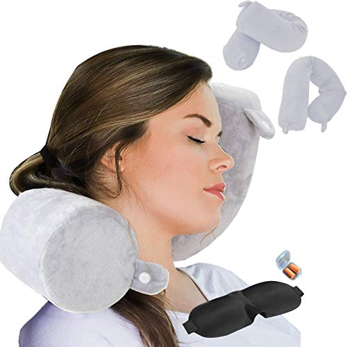 ZOYLEE Twist Memory Foam Travel Pillow Neck,Chin,Shoulder,Lumbar and Leg Support for Adult Airplane Traveling Pillow (Grey)