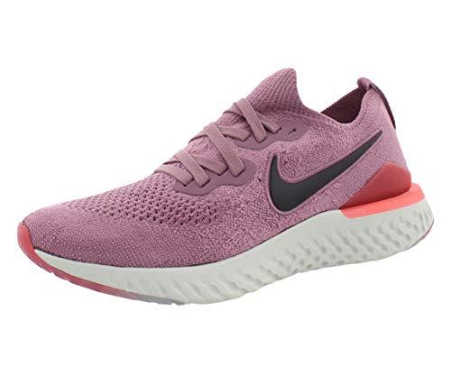 Nike Womens Nike Epic React Flyknit 2 Fabric Low Top Lace Up Running Sneaker, Plum Dust/Black/Ember Glow, 11
