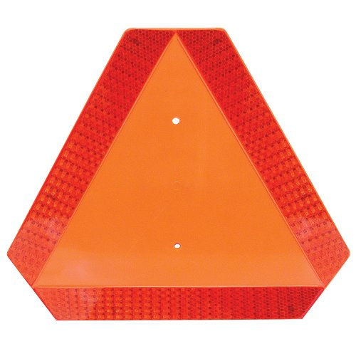 Deflecto Slow Moving Vehicle Sign with Reflective Tape, Safety Triangle, Orange, Highly Visible, Plastic, 16' W x 14' H x 1/4' D(70-0110-50)