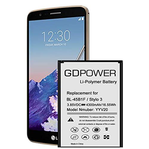 LG Stylo 3 Battery, GDPower 4300mAh High Capacity 0 Cycle Battery BL-44E1F Replacement for LG Stylo 3 LG Stylo 3 Plus TP450 MP450 LS777, LG Stylo 3 Spare Battery