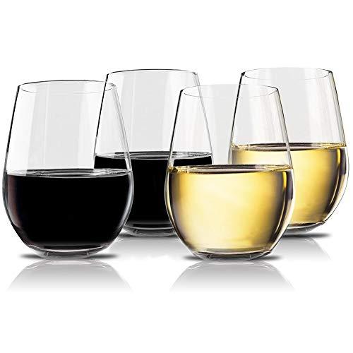 Vivocci Unbreakable Elegant Plastic Stemless Wine Glasses 20 oz | 100% Tritan Heavy Base | Shatterproof Glassware | Ideal For Cocktails & Scotch | Perfect For Homes & Bars | Dishwasher-Proof, Set of 4