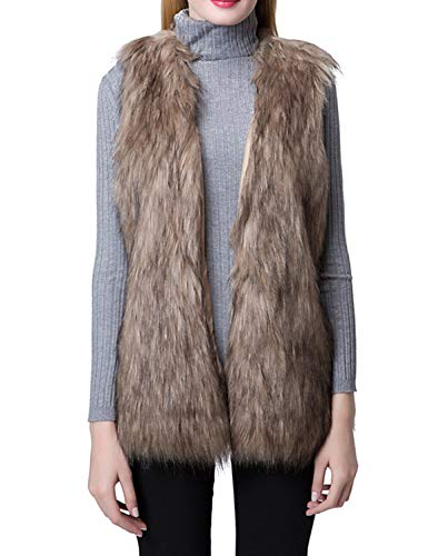 Escalier Women's Faux Fur Vest Waistcoat Sleeveless Jacket Khaki