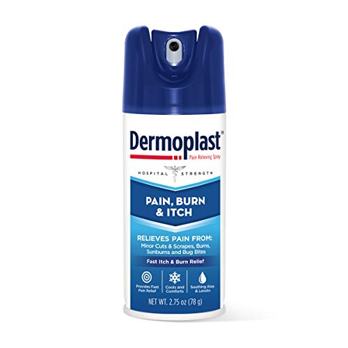 Dermoplast Pain, Burn & Itch Relief Spray for Minor Cuts, Burns and Bug Bites, 2.75 Oz (Packaging May Vary)