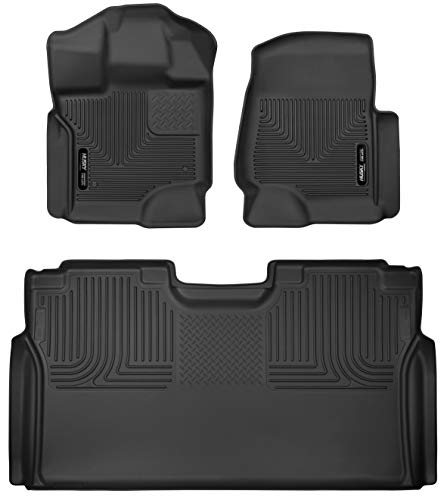 Husky Liners 94041 Fits 2015-21 Ford F-150 SuperCrew with carpeting, Weatherbeater Front & 2nd Seat Floor Mats, Black
