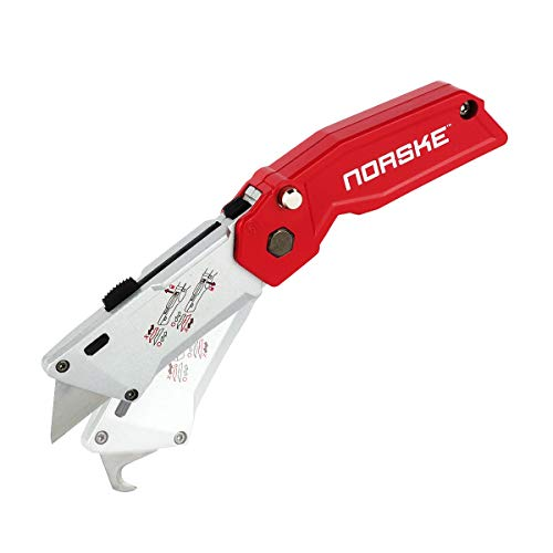 Norske Tools NMCP050 Twin Blade Retractable Folding Knife with Utility Blade and Hooked Blade Patented