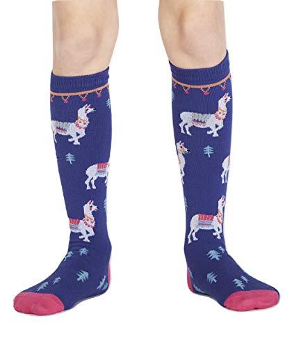 Sock It To Me, ¿Cómo te llamas? Junior Knee Socks, Travel Party Llama Socks