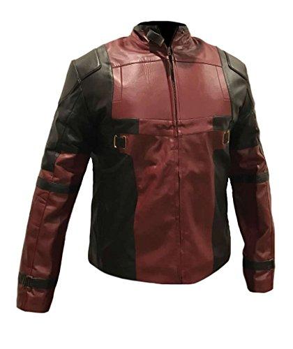 Classyak Men's DP Leather Jacket Faux Burgundy X-Large