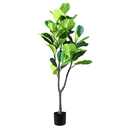 CROSOFMI Artificial Fiddle Leaf Fig Tree 4 Feet Fake Ficus Lyrata Plant with 42 Leaves Faux Plants in Pot for Indoor Outdoor House Home Office Garden Modern Decoration Perfect Housewarming Gift
