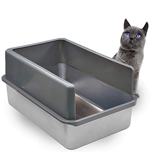 iPrimio Enclosed Sides Stainless Steel Cat XL Litter Box Keep Litter in The Pan - Never Absorbs Odor, Stains, or Rusts - No Residue Build Up - Easy Cleaning Litterbox Designed by Cat Owners