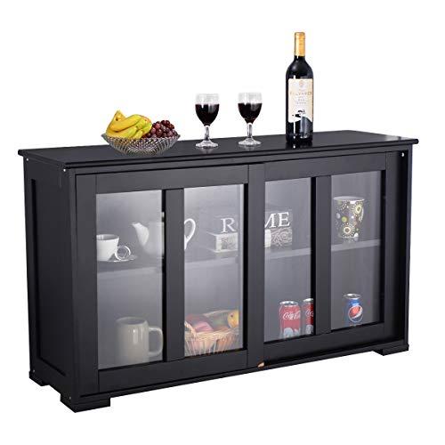 WATERJOY Kitchen Storage Sideboard, Stackable Buffet Storage Cabinet with Sliding Door Panels for Home Kitchen, Antique Black