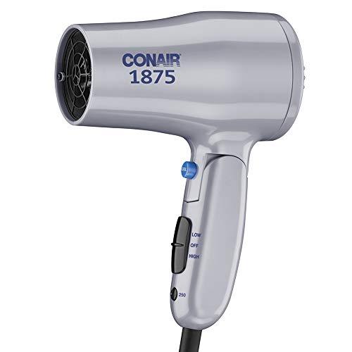 Conair 1875 Watt Compact Dual Voltage Travel Hair Dryer with Folding Handle, Grey