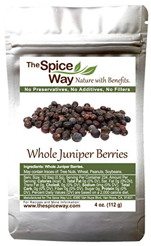 The Spice Way Juniper Berries - Whole berries, pure, no additives, Non-GMO, no preservatives, | 4 oz | great for cooking and for spicing tea, syrup, meat, beef, turkey, soups and more. resealable bag