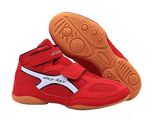 Day Key Lightweight Wrestling Shoes for Kids, Boys, Girls, Youth, Teenagers Red