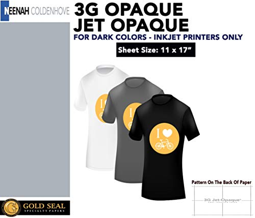3G Jet Opaque Heat Transfer Paper 11x17 25 Sheets Transfer Paper