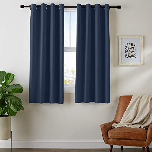 AmazonBasics Room Darkening Blackout Window Curtains with Grommets - 42' x 63', Navy, 2 Panels