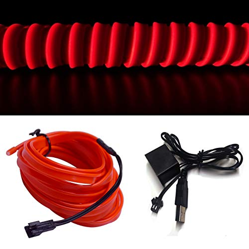 M.best Neon Light El Wire for Automotive Car Interior Decoration with 6mm Sewing Edge (5M/15FT, Red)