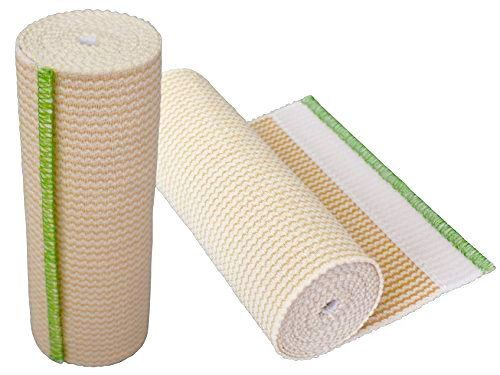 GT USA Organic Cotton Elastic Bandage Wrap (6' Wide, 2 Pack) | Hook & Loop Fasteners at Both Ends | Latex Free | Hypoallergenic Compression Roll for Sprains & Injuries