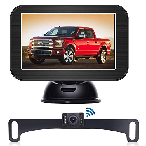 B-Qtech 5' Wireless Backup Camera and Monitor Kit丨Waterproof Night Vision Front/Rear View Camera with Grid Line丨Easy Installation for Cars, Trucks, Pickups, Camping Car, SUV