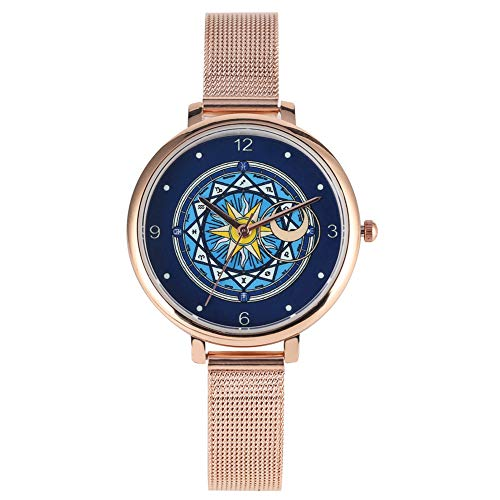 Exquisite Card Captor Sakura Pattern Dial Watches for Lady, Chic Quartz Analog Watch for Women, Premium Steel Mesh Band Wristwatch for Female