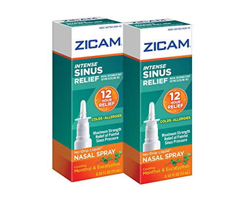Zicam Intense Sinus Relief No-drip Liquid Nasal Spray with Cooling Menthol & Eucalyptus, 0.5 Ounce (Pack of 2)