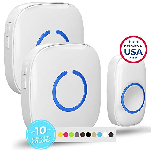 Wireless Doorbell by SadoTech – Waterproof Door Bells & Chimes Wireless Kit – Over 1000-Foot Range, 52 Door Bell Chime, 4 Volume Levels with LED Flash – Wireless Doorbells for Home – Model CXR (White)