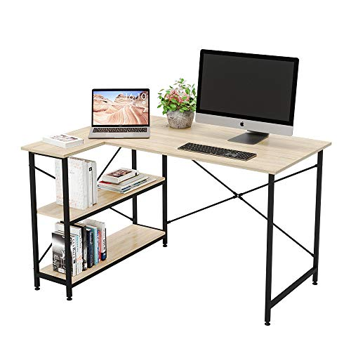 Bestier Computer Desk with Storage Shelves Under Desk, Small L-Shaped Corner Desk with Shelves 47 Inch Writing Desk Table with Storage Tower Shelf Home Office Desk for Small Spaces P2 Wood Oak