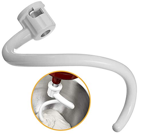 Spiral 6qt Dough Hook for Kitchenaid Stand Mixer - Coated Metal Dough Hook Attachment for 6-Quart Bowl-lift Mixer Models KV25G0X KV25G8X KV25H0X KP26M1X KP26M8X KL26M8X KB26G1X KP26M1X KNS256CDH etc
