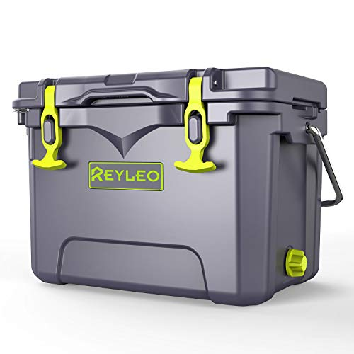 REYLEO Camping Cooler, 21 Quart 3-Day Ice Retention, Portable Rotomolded Cooler, 30-Can Capacity Ice Chest, with Built-in Bottle Opener, Cup Holder, Fish Ruler
