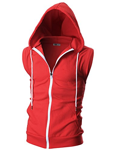 OHOO Mens Slim Fit Sleeveless Lightweight Zip-up Hooded Vest with Single Slide Zipper/DCF012-RED-S