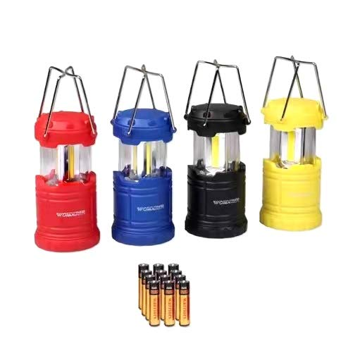 LED Lantern Mini 4 Pack, Camping Lanterns with 12 AAA Battery Operated/Portable & Collapsible, LED Camping Lantern for Kids/Hurricane/Camping/Emergency/Power Outage