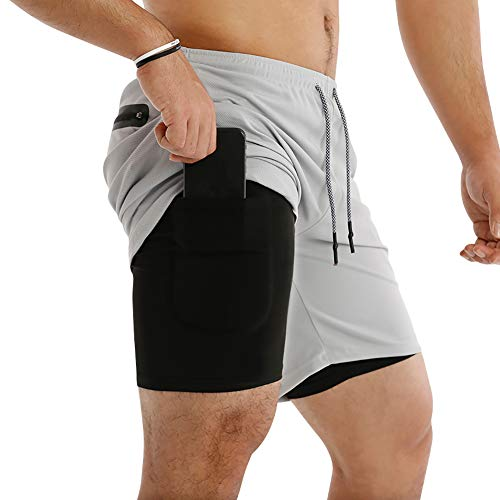 MECH-ENG Men's Workout Running 2 in 1 Shorts Training Gym 7' Short with Pockets(Grey XL/Tag 3XL)